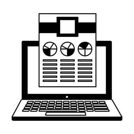 laptop computer document report work vector illustration monochrome