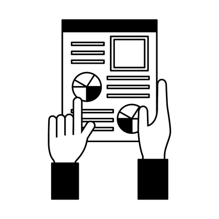 hand holds cv human resources management vector illustration monochrome