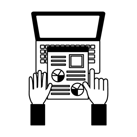 hand with curriculum and laptop resources human vector illustration monochrome