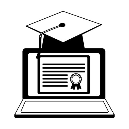 elearning laptop with hat and diploma graduation vector illustration design Stok Fotoğraf