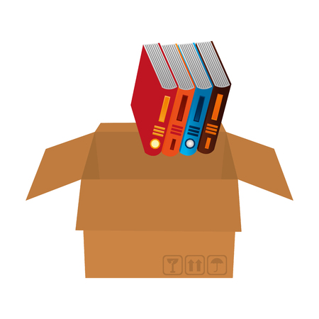 library pile books in carton box vector illustration design