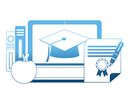 elearning laptop with hat graduation and books vector illustration design