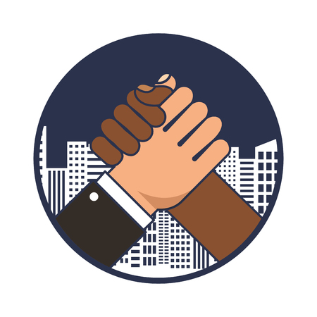 hands shake with cityscape isolated icon vector illustration design