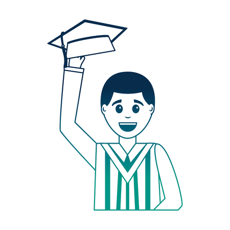 happy graduate man portrait character vector illustration neon design