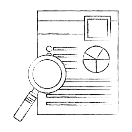 magnifying glass with document file and statistics pie graphic vector illustration design