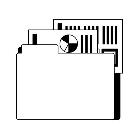 office folder file documents financial data vector illustration monochrome