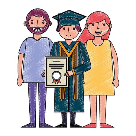 young man graduated with diploma and parents vector illustration design