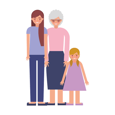 grandmother with daughter and granddaughter vector illustration design Ilustrace
