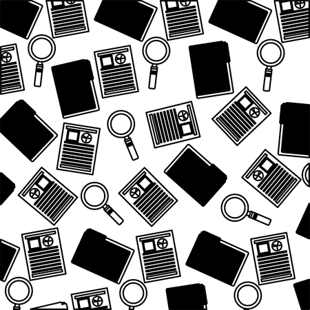 human resources folder curriculum and magnifying glass background vector illustration monochrome Illustration