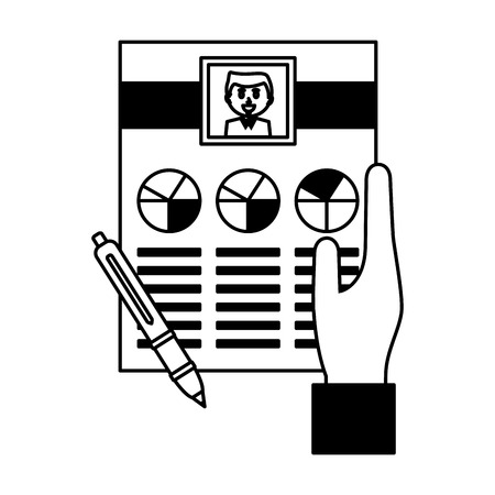 hand with human resources curriculum and pen vector illustration monochrome