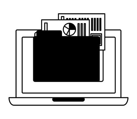 laptop computer folder file report papers vector illustration monochrome Illustration