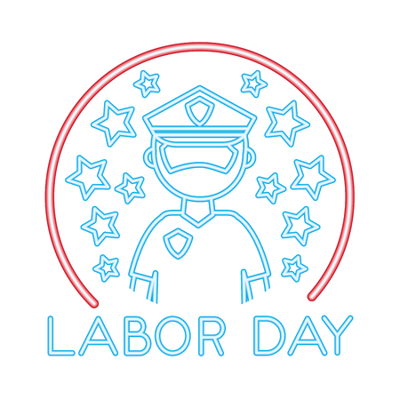 policeman with labor day isolated icon vector illustration design