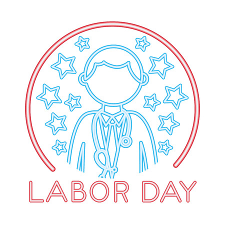 medical doctor with labor day vector illustration design