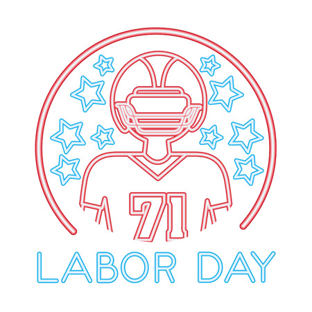 american football player with labor day vector illustration design