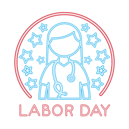 medical female doctor with labor day vector illustration design