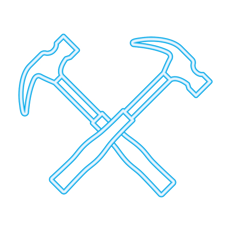 hammer tool crossed icon vector illustration design