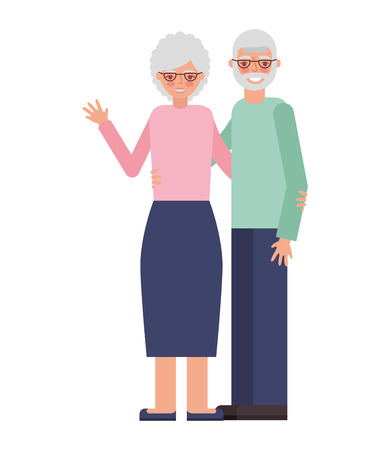 cute grandparents avatar characters vector illustration design