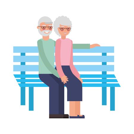cute grandparents in park chair vector illustration design