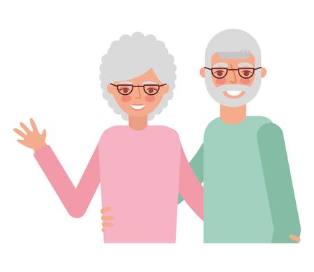 cute grandparents avatar characters vector illustration design
