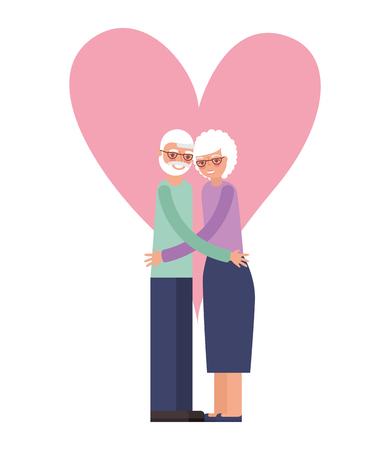 cute grandparents with heart isolated icon vector illustration design