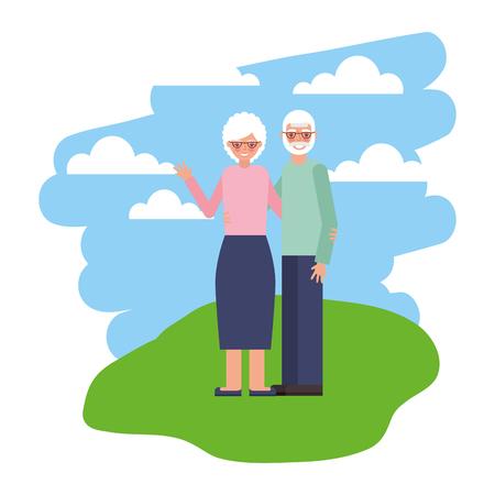 cute grandparents in landscape isolated icon vector illustration design