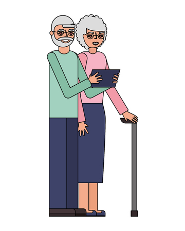 cute grandparents with tablet device vector illustration design