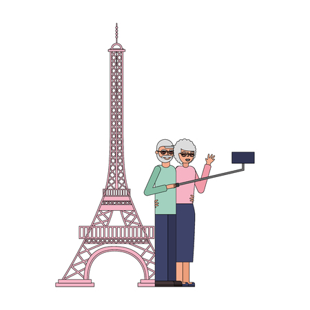 cute grandparents with eiffel tower and pole selfie vector illustration design