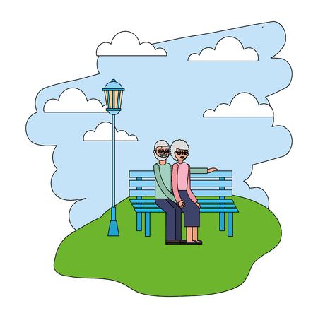 cute grandparents in park chair and landscape vector illustration design