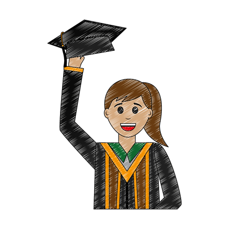young woman graduated lifting hat avatar character vector illustration design Illustration