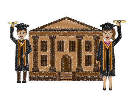school building with students gradutaed vector illustration design Banque d'images - 112384265