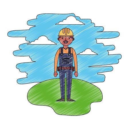 construction builder in landscape character vector illustration design Banque d'images - 112384268