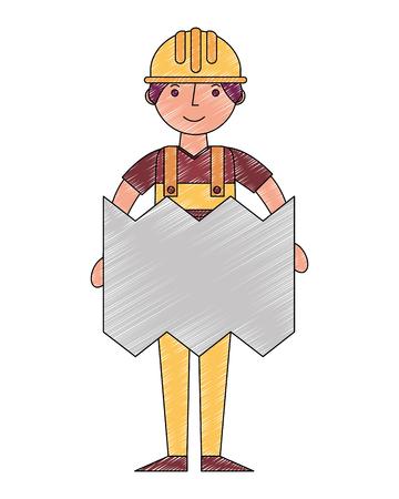 construction builder with plane character vector illustration design Иллюстрация
