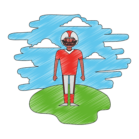 american football player in landscape vector illustration design