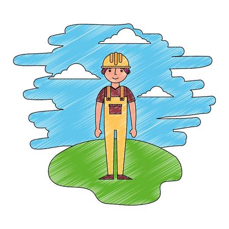 construction builder in landscape character vector illustration design Banque d'images - 112384275