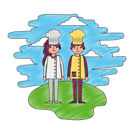restaurant chefs couple in landscape vector illustration design