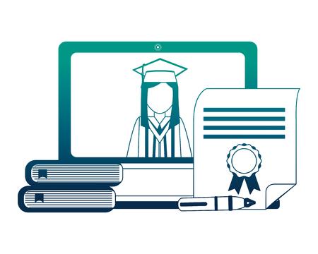 graduate woman laptop books diploma fountain pen vector illustration neon design