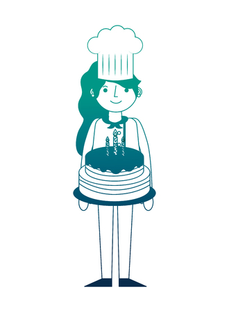 chef woman holding sweet birthday cake vector illustration neon design Illustration