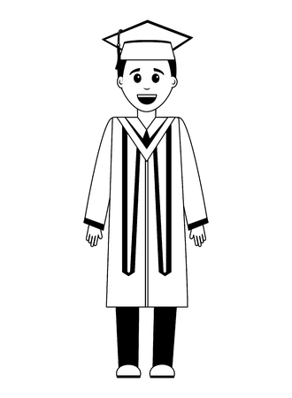 graduate man with graduation robe vector illustration Reklamní fotografie - 105557283