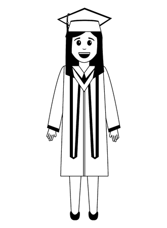 graduate woman in graduation robe and cap vector illustration