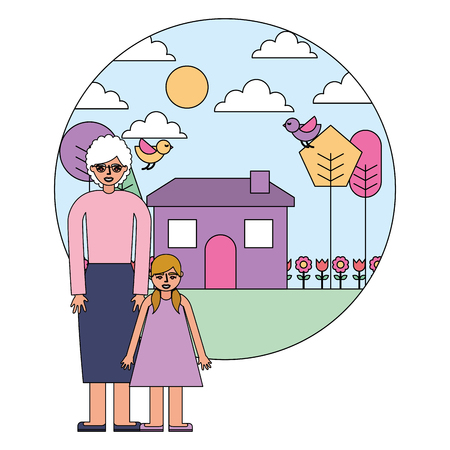 grandmother with granddaughter characters vector illustration design