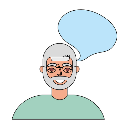 old man with speech bubble vector illustration design Illustration