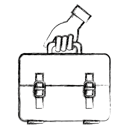 hand with school handbag vector illustration design