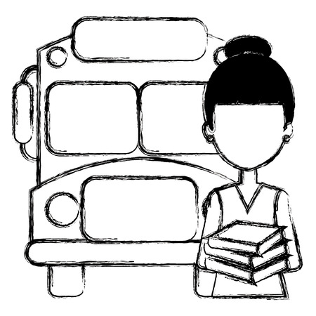 young girl student with bus character vector illustration design Stock Photo