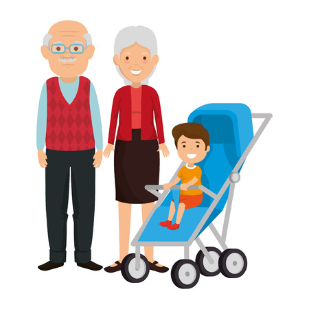 cute grandparents couple with grandson in cart vector illustration design 스톡 콘텐츠 - 112384333
