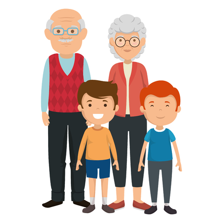 cute grandparents couple with kids characters vector illustration design 스톡 콘텐츠 - 112384336