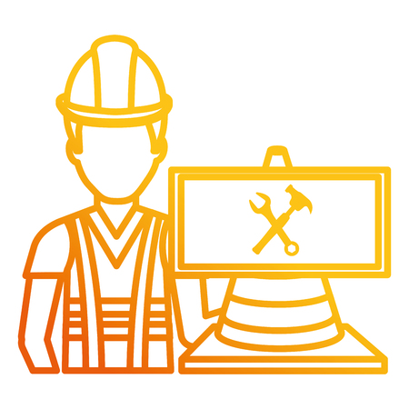 builder with cone and signal character vector illustration design Stock Photo