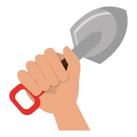 hand with shovel tool vector illustration design