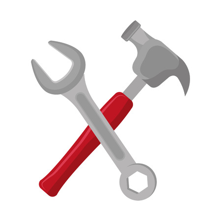 hammer with wrench crossing vector illustration design Stock fotó
