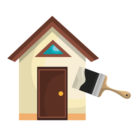 house with paint brush vector illustration design