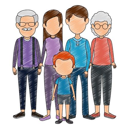 Grupo de lindos miembros de la familia personajes, diseño de ilustraciones vectoriales